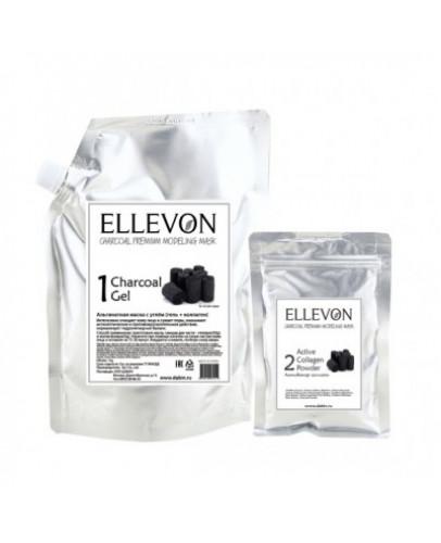 Премиум альгинатная маска с углем (гель + коллаген) Ellevon Charcoal Premium Modeling Mask 1000 мл