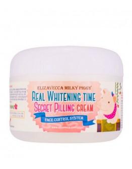 Крем для лица с эффектом пилинга осветляющий Elizavecca Real Whitening Time Secret Pilling Cream