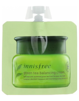 Крем для лица пробник Innisfree Green Tea Balancing Cream (pouch)