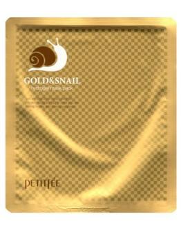 Маска для лица гидрогелевая Золото и муцин улитки Petitfee Gold & Snail Transparent Gel Mask