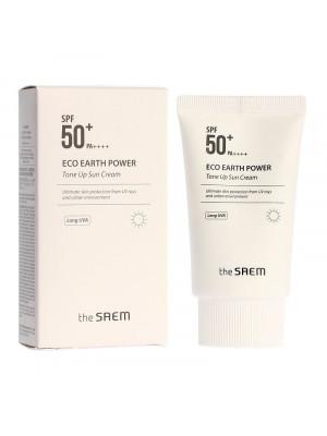 Крем солнцезащитный осветляющий The Saem Eco Earth Power Tone Up Sun Cream SPF 50+ PA++++ 50 гр