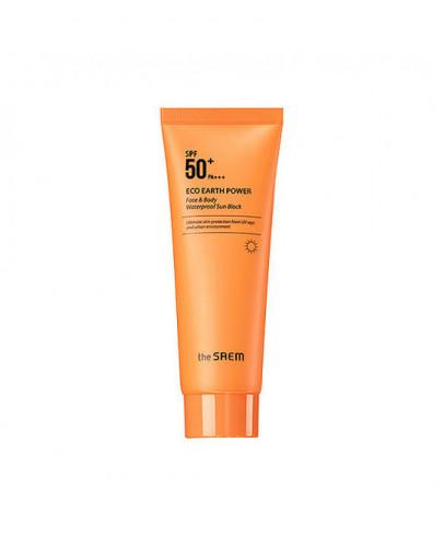 Крем солнцезащитный для лица и тела The Saem Eco Earth Power Face & Body Waterproof Sun Block SPF 50+ PA+++ 100гр